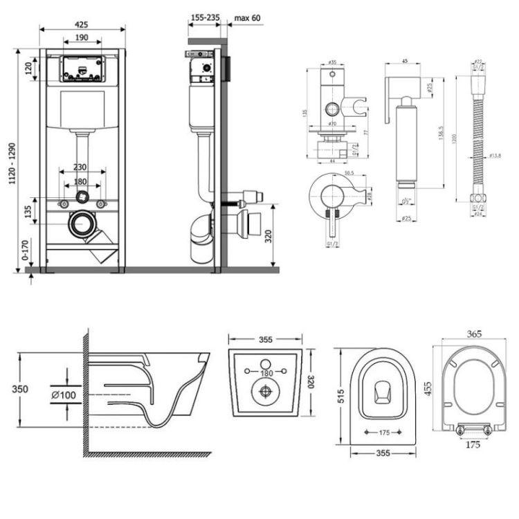 Комплект Qtap інсталяція Nest QTNESTM425M11CRM + унітаз з сидінням Swan QT16335178W + набір для гігієнічного душу зі змішувачем Inspai-Varius QTINSVARCRMV00440001 - 2