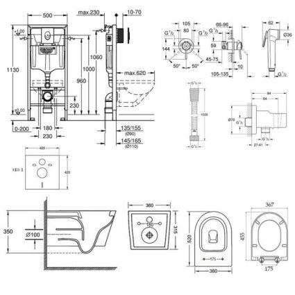 Комплект інсталяція Grohe Rapid SL 38721001 + унітаз з сидінням Qtap Jay QT07335176W + набір для гігієнічного душу зі змішувачем Grohe BauClassic 111048 - 2
