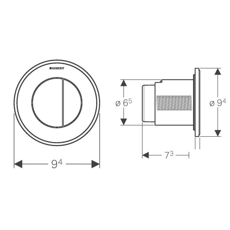TYPE10 пневмокнопка управления смывом унитаза, двойной смыв, чёрный / хром глянцевый/ чёрный - 2