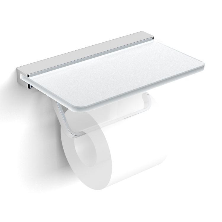 TEO тримач паперу з поличкою матове скло, кріплення до стіни, хром - 1