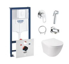 Комплект інсталяція Grohe Rapid SL 38722001 + унітаз з сидінням Qtap Jay QT07335176W + набір для гігієнічного душу зі змішувачем Grohe BauLoop 111042
