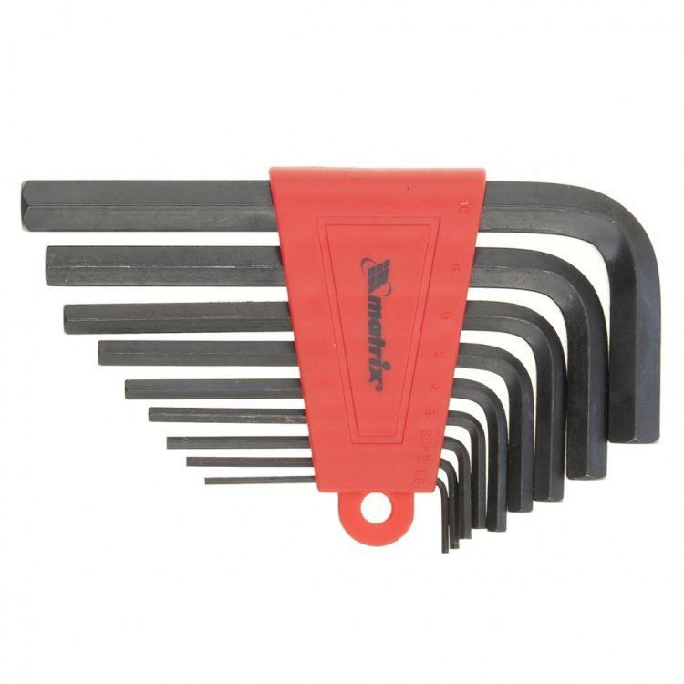 Набор ключей імбусових HEX, 1,5-10 мм, CrV, 9 шт. короткие, оксидированные MTX 112269 - 1