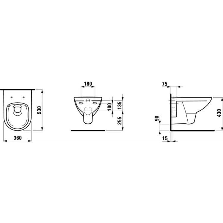 PRO комплект в коробке: чаша подвесного унитаза Pro Rimless (8.2096.0), сиденье с крышкой с плавным опусканием - 2