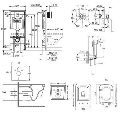 Комплект інсталяція Grohe Rapid SL 38772001 + унітаз з сидінням Qtap Crow WHI 5170 + набір для гігієнічного душу зі змішувачем Grohe BauClassic 2904800S - 2