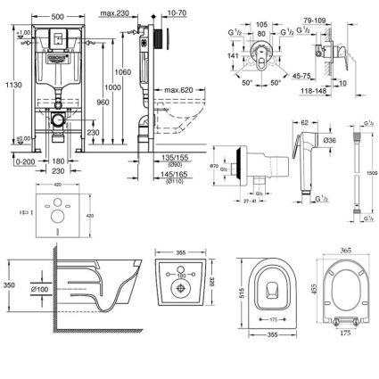 Комплект інсталяція Grohe Rapid SL 38827000 + унітаз з сидінням Qtap Swan QT16335178W + набір для гігієнічного душу зі змішувачем Grohe BauLoop 111042 - 2