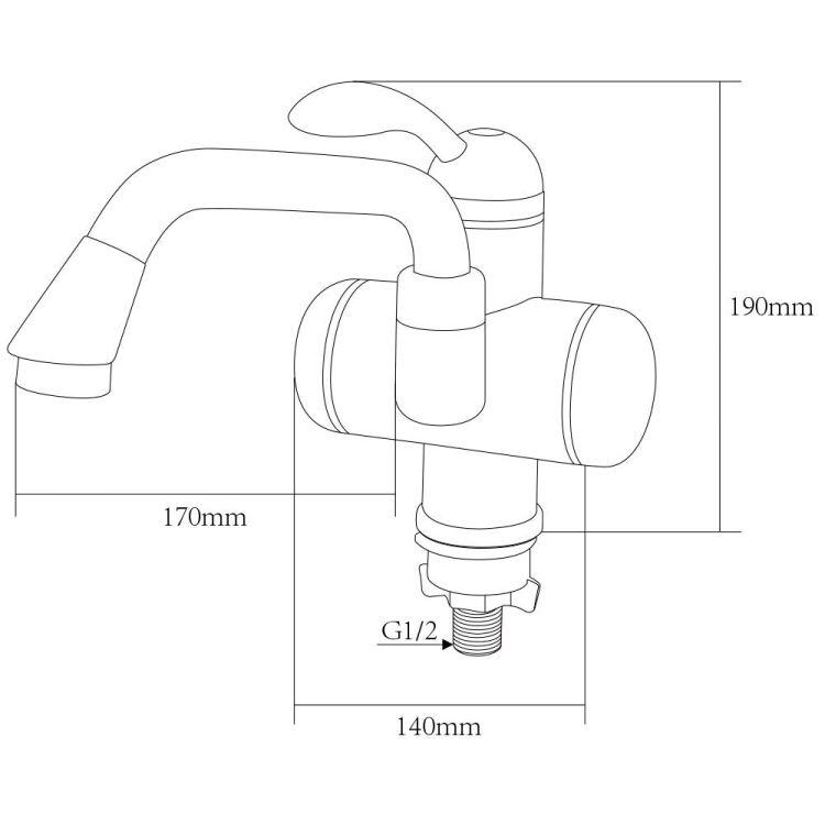 Кран-водонагрівач проточний LZ 3.0 кВт 0,4-5бар для раковини гусак довгий вигнутий на гайці AQUATICA (LZ-5A211W) - 3