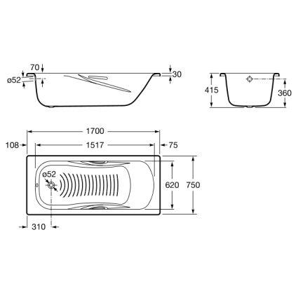 PRINCESS ванна 170*75см, с ручками + Сифон Viega Simplex для ванны - 2