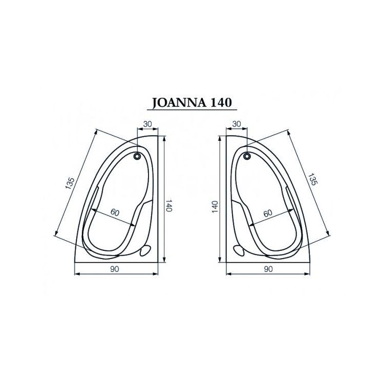 Ванна акриловая Cersanit Joanna New L 140x90 левая - 3