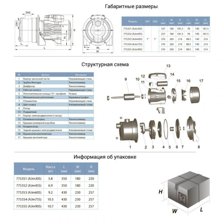 Насос відцентровий самовсмоктуючий 0.6 кВт Hmax 43м Qmax 47л /хв (нерж) LEO 3.0 (775353) - 2