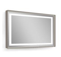 Дзеркало 80*60см, в алюмінієвій рамі, з підсвічуванням, з підігрівом, колір капучіно (меблі під умивальник VERITY LINE)