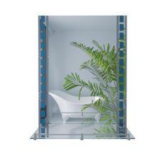 Lidz дзеркало настінне квадратна з полицею і декором W 140.07.06 500х700х100