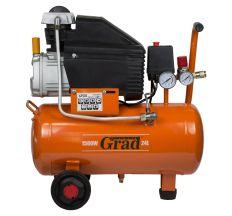 Компресор одноциліндровий 1.5 кВт 198л/хв 8бар 24л (2 крана) Grad (7043535)