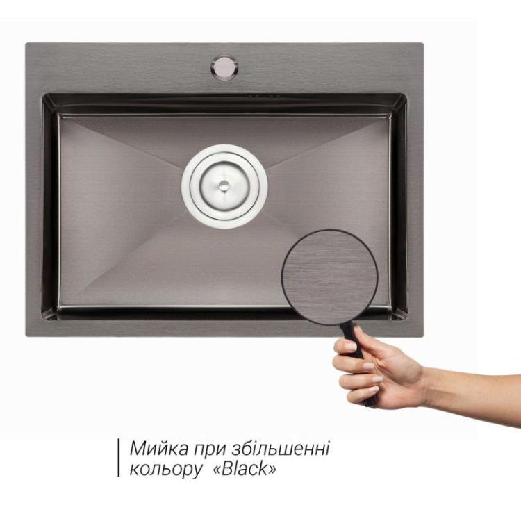 Кухонна мийка Qtap D5843BL 2.7/1.0 мм (QTD5843BLPVD10) - 3