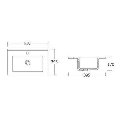 FLY комплект меблів 60см, білий: підлогова тумба, 2 шухляди, дверцята 1 + умивальник накладний арт RZJ610 - 3