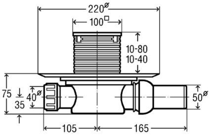 Трап Advantix для ванной, сухой затвор, горизонтальный D50 (583217) - 2