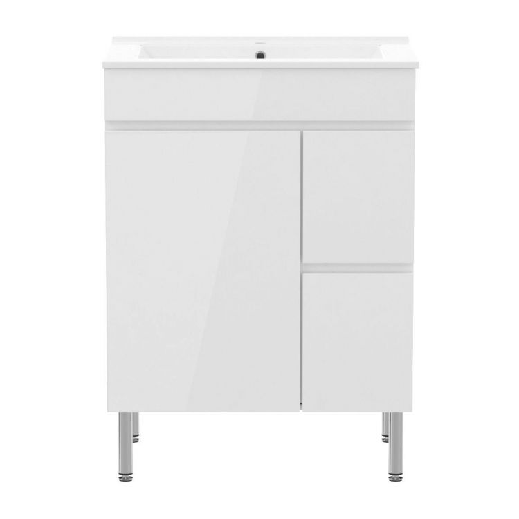 FLY комплект меблів 60см, білий: підлогова тумба, 2 шухляди, дверцята 1 + умивальник накладний арт RZJ610 - 2