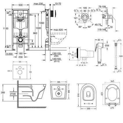 Комплект інсталяція Grohe Rapid SL 38721001 + унітаз з сидінням Qtap Swan QT16335178W + набір для гігієнічного душу зі змішувачем Grohe BauLoop 111042 - 2