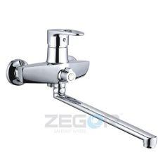 Z63-NKE-A180 ZEGOR Смеситель для ванны длинный гусак, перев.в корпусе к.40