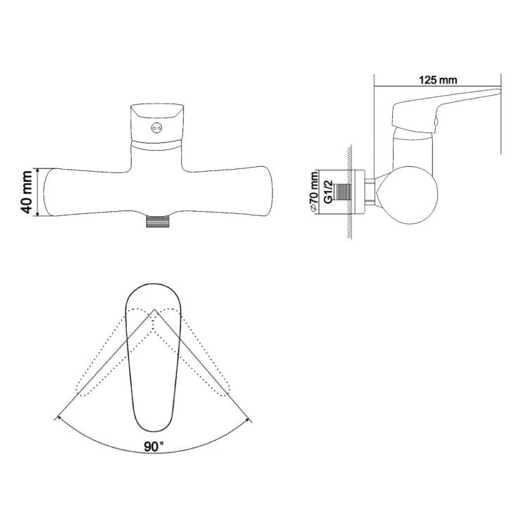 BUTTERFLY змішувач для душу одноважільний, хром 35 мм - 2
