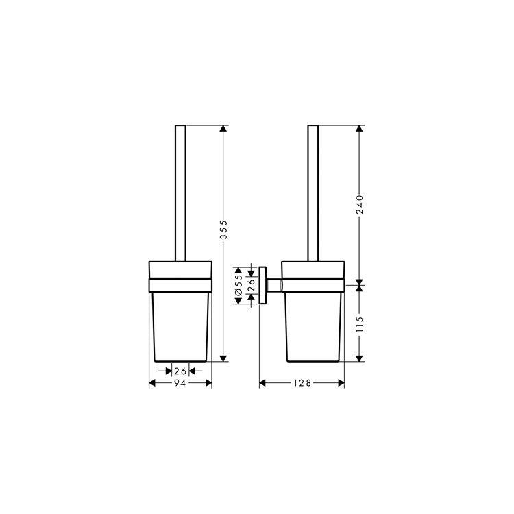 Logis Набор аксессуаров: крючок двойной, держатель туалетной бумаги, стакан, туалетная щётка (41725000+41723000+41718000+41722000) - 3
