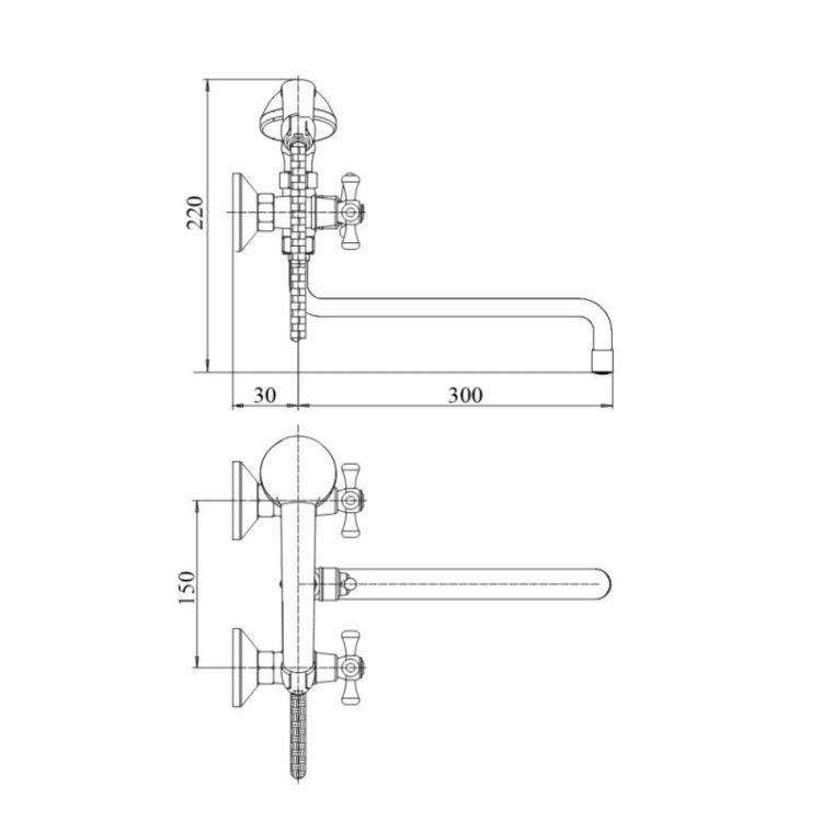 Змішувач для ванни GF (CRM)/S - 22-140S - 2