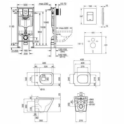 Набір інсталяція 5 в 1 Grohe Rapid SL 38827000 + унітаз з сидінням Qtap Tern QT1733052ERW - 2