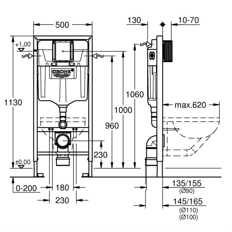 Rapid SL комплект 3в1 для підвісного унітазу (бачок, кріплення, кнопка хром - подвійний. злив 37535000) - 2
