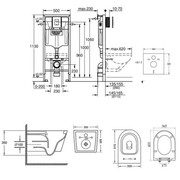 Набір інсталяція 5 в 1 Grohe Rapid SL 38827000 + унітаз з сидінням Qtap Swan QT16335178W - 2