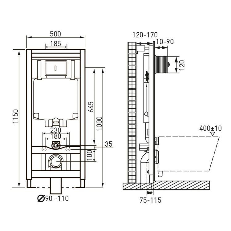 Комплект: LIBRA S Rectangular унітаз 51*34,5*34см підвісний, сидіння Slim slow-closing+ VOLLE MASTER NEO інсталяція для підв.унітазу з клав. зливу, хром - 3