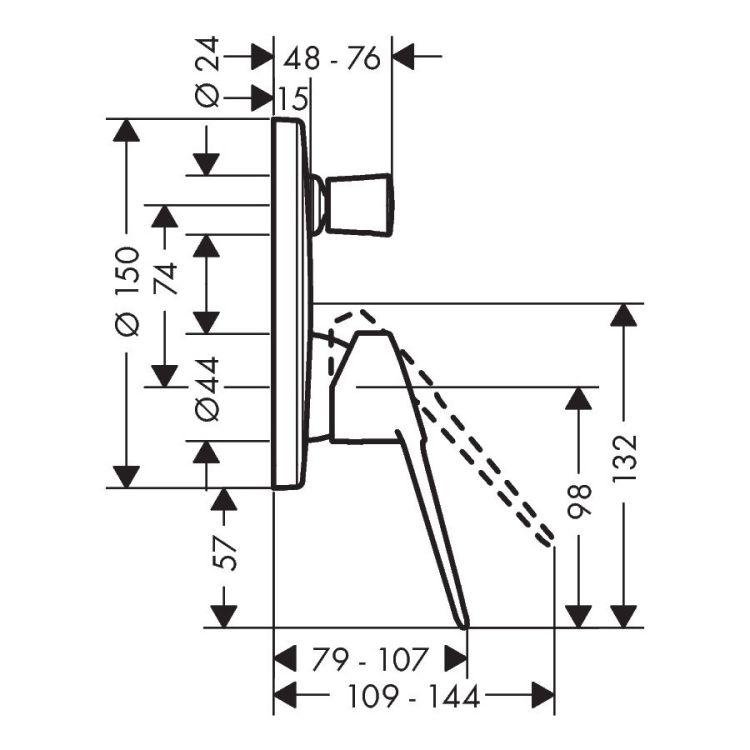 NOVUS LOOP змішувач для ванни, СМ, хром - 2