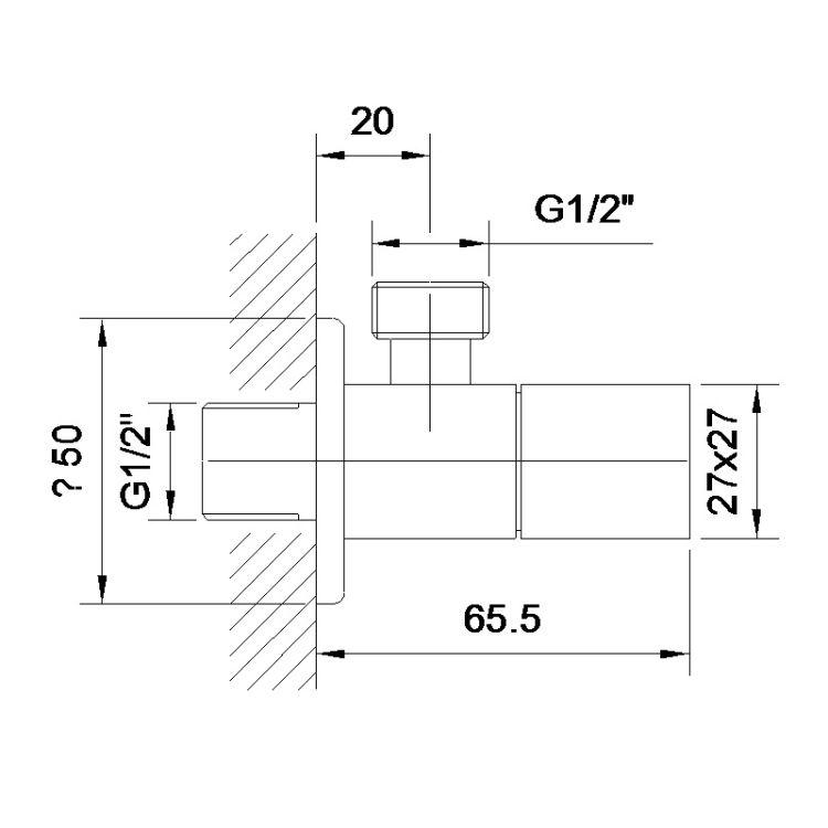 GRAFIKY кутовий вентиль чверть обороту G1/2-G1/2 - 2