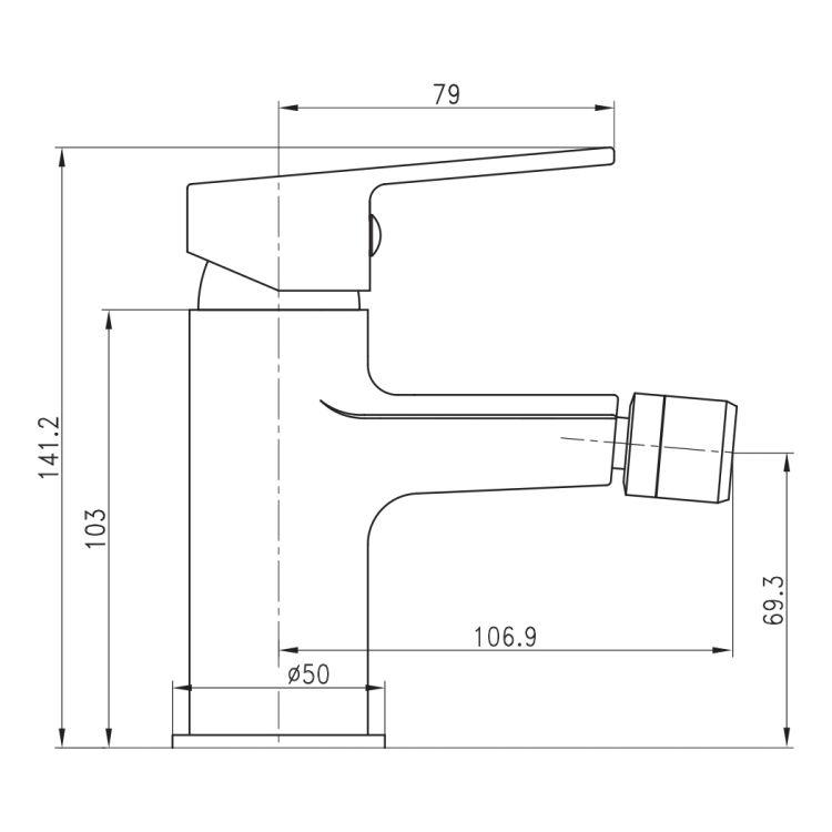 LASKA cмеситель для биде, сатин, 35 мм - 2