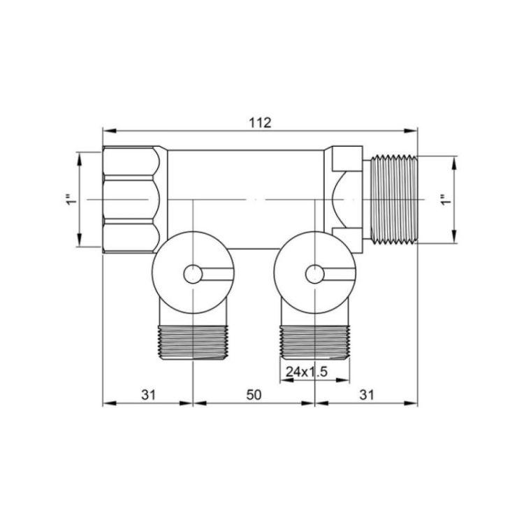 228 Коллектор 1*2 под фитинг 24*1,5 ICMA без конусов - 2