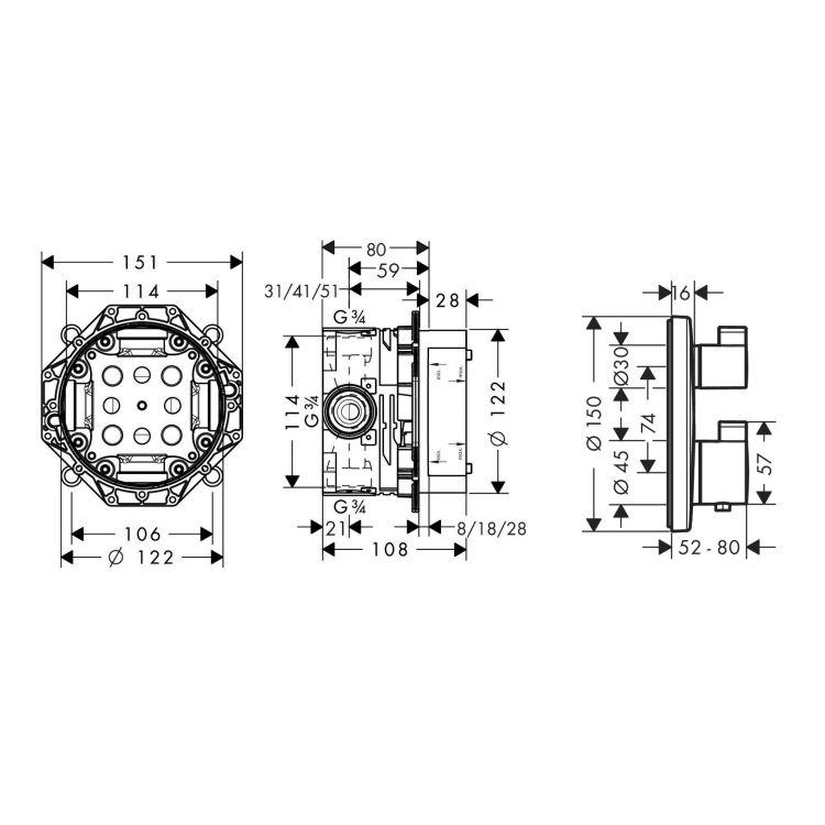 ECOSTAT S термостат з запірним/перемикаючим вентилем + прихована частина IBOX universal для змішувача (в подарунок) - 2