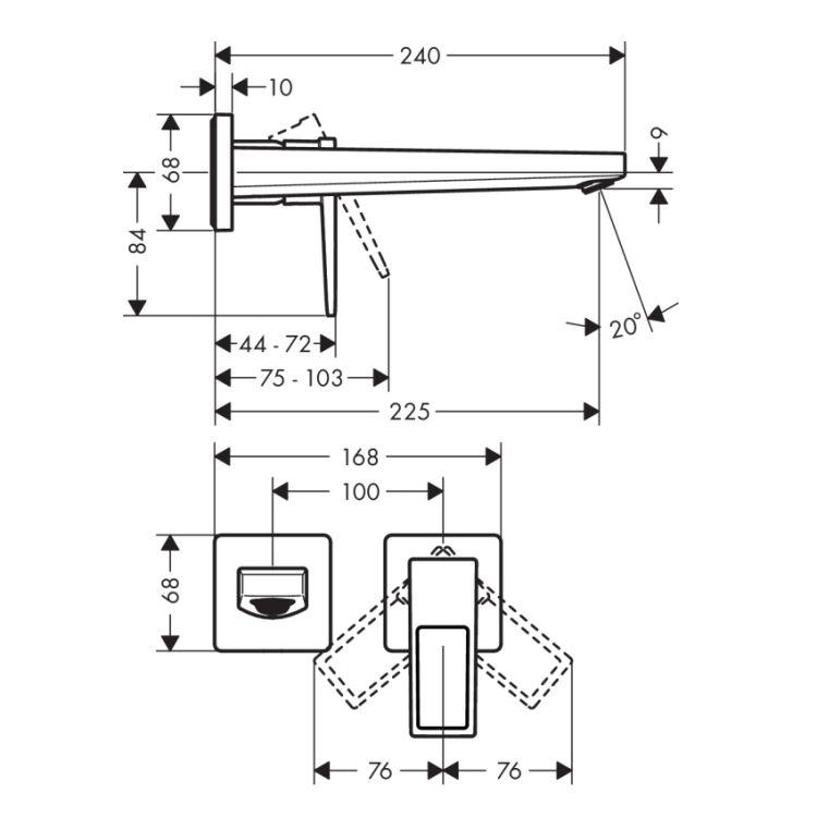 Metropol Змішувач для раковини, одноважільний з дугоподібною ручкою та виливом 225 мм, настя. монтаж, хром - 2