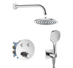 CENTRUM система душова прихованого монтажу (термостат для душу, верхній душ 200 мм, тримач душу 304 мм, ручний душ, шланг, тримач), хром