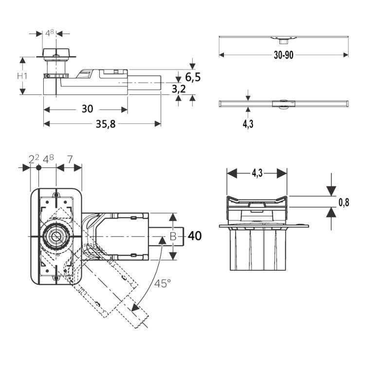 Комплект Geberit CleanLine, высота стяжки 65-90мм - 2