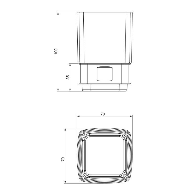 TEO стакан матовое стекло с мягким кольцом - 2