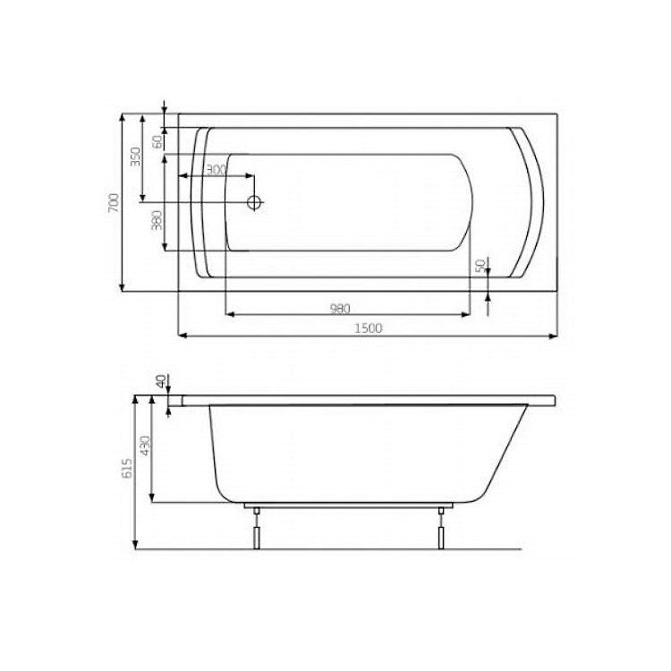 LINEA ванна 150*70см, акрилова, прямокутна, біла, з ніжками, обсяг 165л - 2