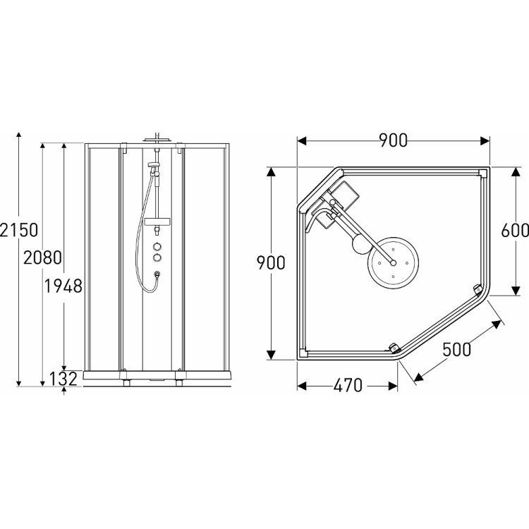 SHOWERAMA 10-5 Comfort душевая кабина пятиугольная 90*90см, профиль серебристый, прозрачное стекло/матовое стекло - 2