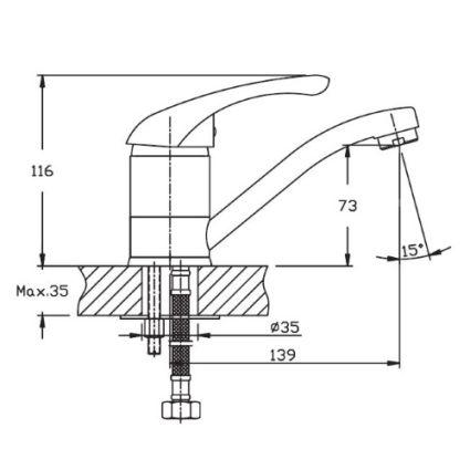 Змішувач для умивальника HAIBA Luxor 004-15см - 2
