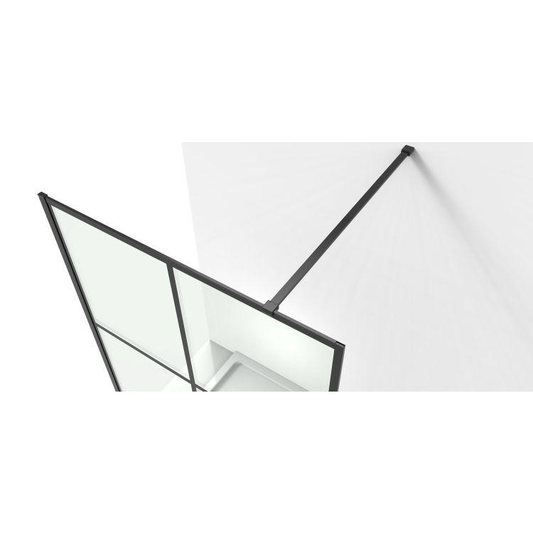 Malla Negra стінка Walk-In 1200*2000*8mm в комплекті з тримачем, профіль чорний матовий - 7