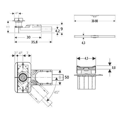 Комплект Geberit CleanLine, высота стяжки 90-200мм - 2