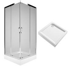 REKORD душевая кабина 90см, квадратная, прозрачное стекло, серебристый блеск+FIRST поддон квадратный 90*90см, с интегр. панелью