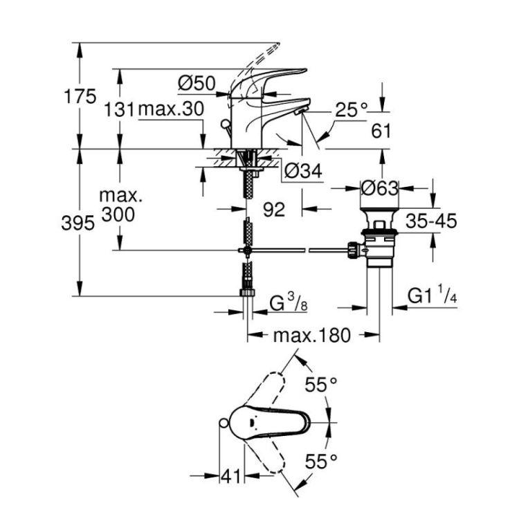 Смеситель для раковины Grohe Euroeco 23262000 с донным клапаном - 2