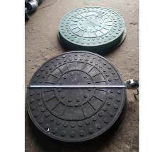 Люк для колодязів ЛТ Зелений (з замком) 1,5 т круглий ф750мм