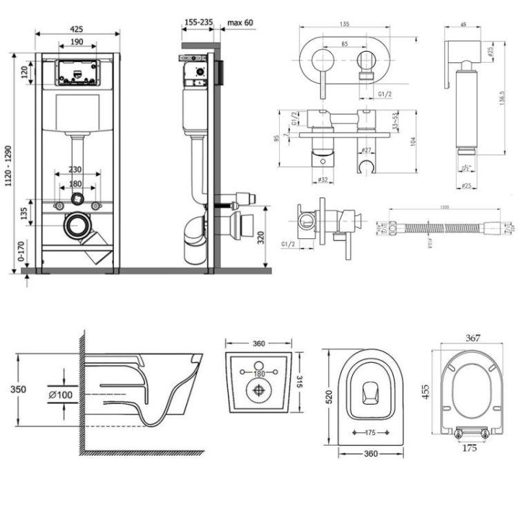 Комплект Qtap інсталяція Nest QTNESTM425M08CRM + унітаз з сидінням Jay QT07335176W + набір для гігієнічного душу зі змішувачем Inspai-Varius QTINSVARCRMV00440501 - 2