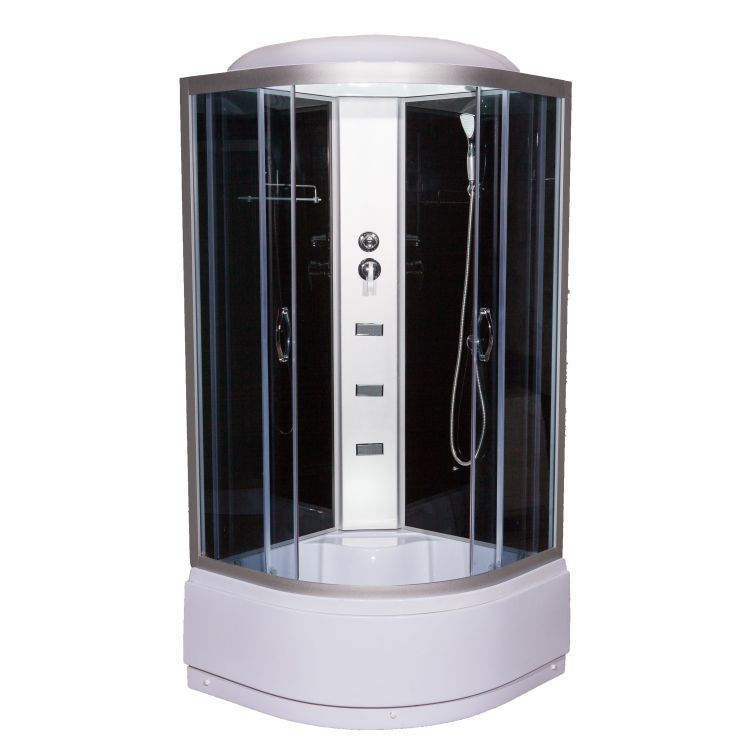 95 RC 900*900*2150 мм, глибокий піддон (48 см), скло сіре (4мм), профіль сатин, тропіч душ, руч душ, - 1