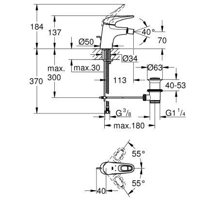 Eurostyle Змішувач одинважільний для биде DN 15 S-Size`, хром - 2