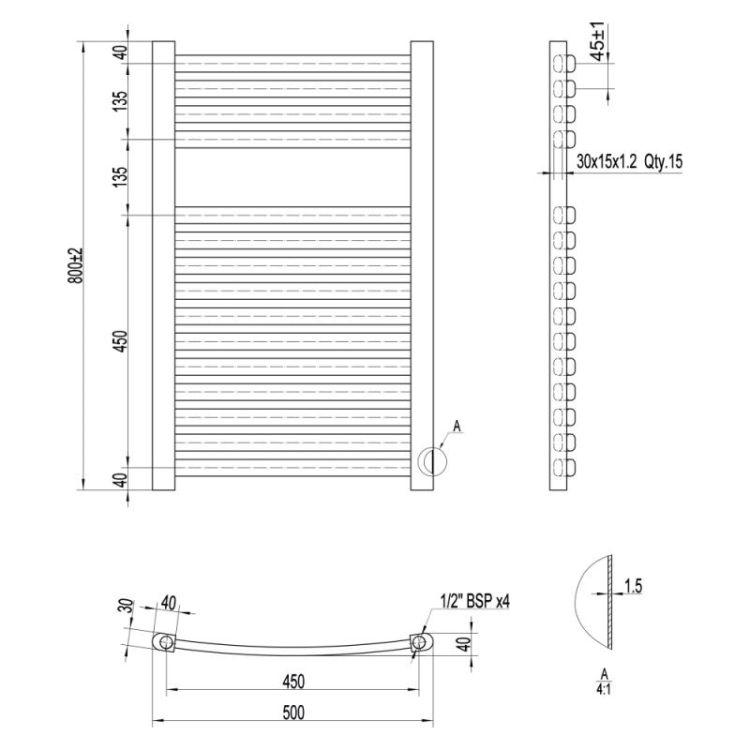 Рушникосушарка водяна Qtap Dias (BLA) P15 800x500 HY - 2